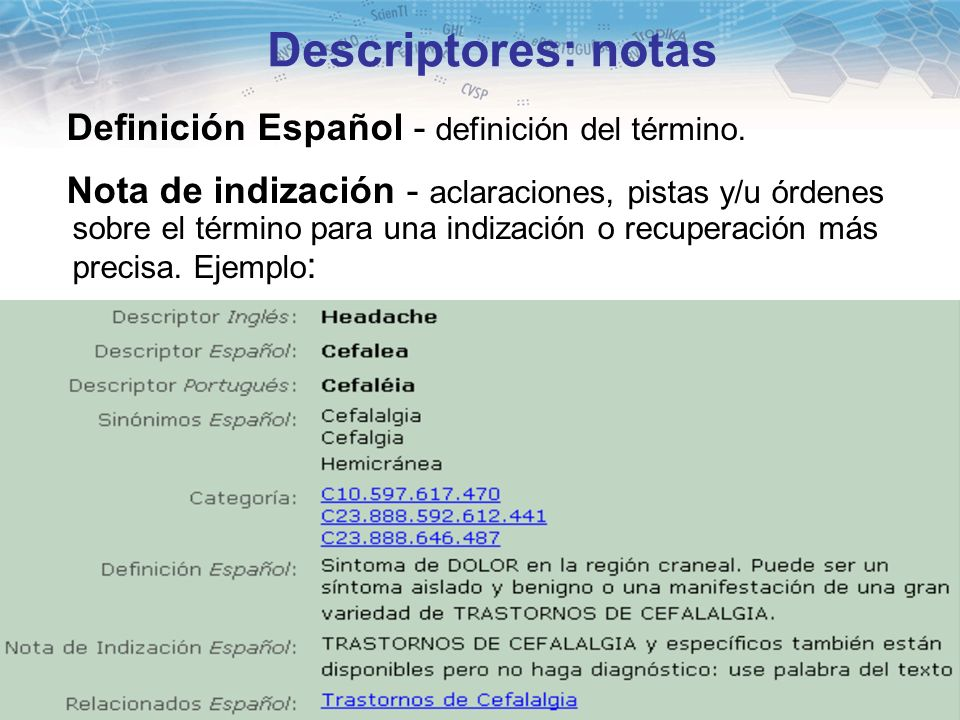 Descriptores: notas Definición Español - definición del término.