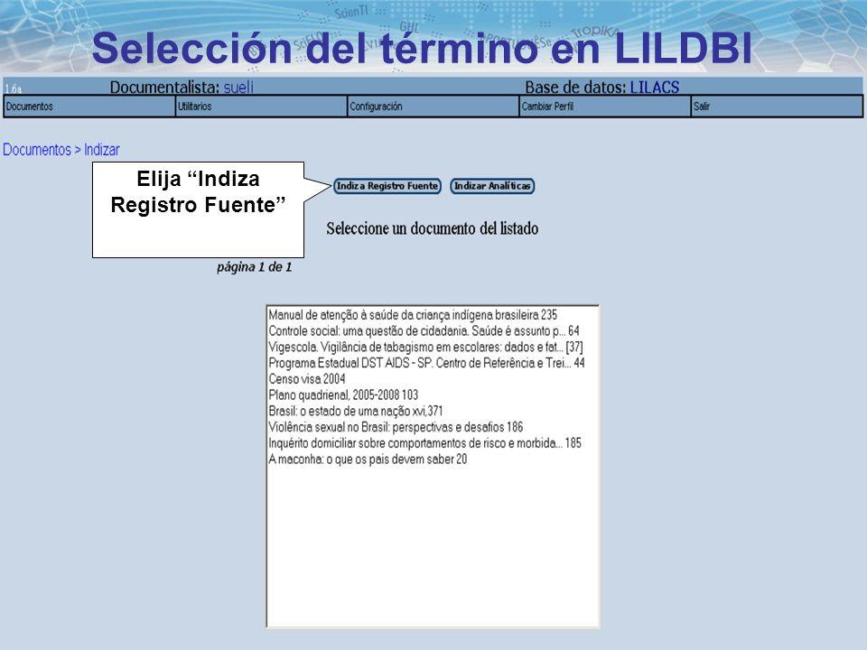 Selección del término en LILDBI