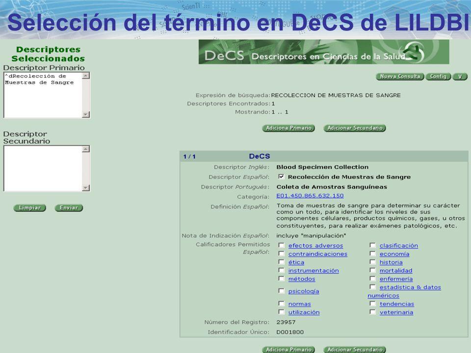 Selección del término en DeCS de LILDBI