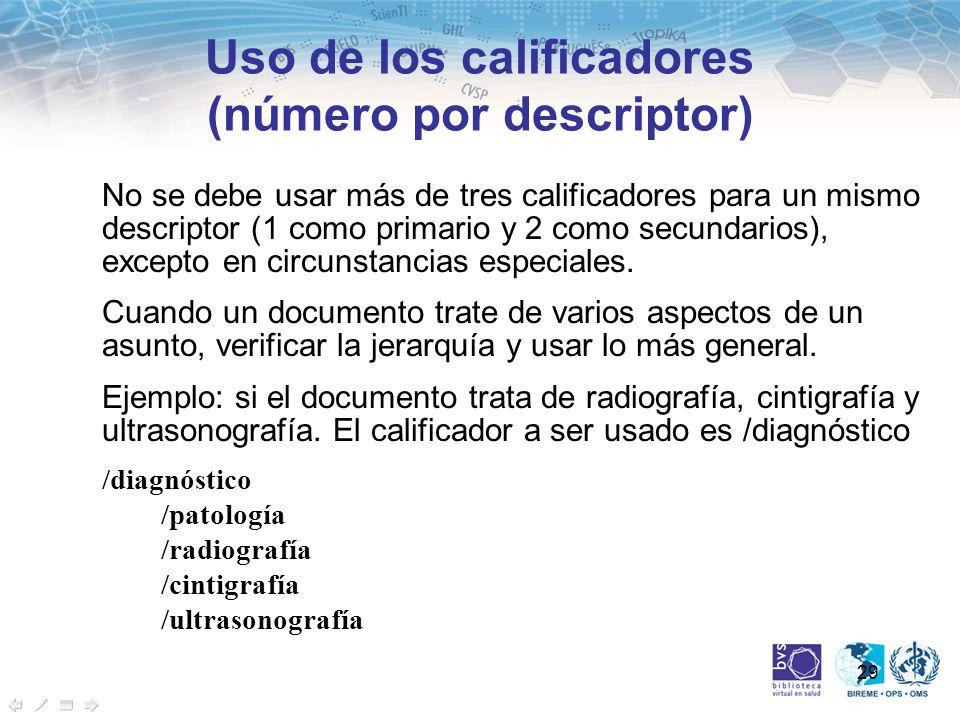 Uso de los calificadores (número por descriptor)