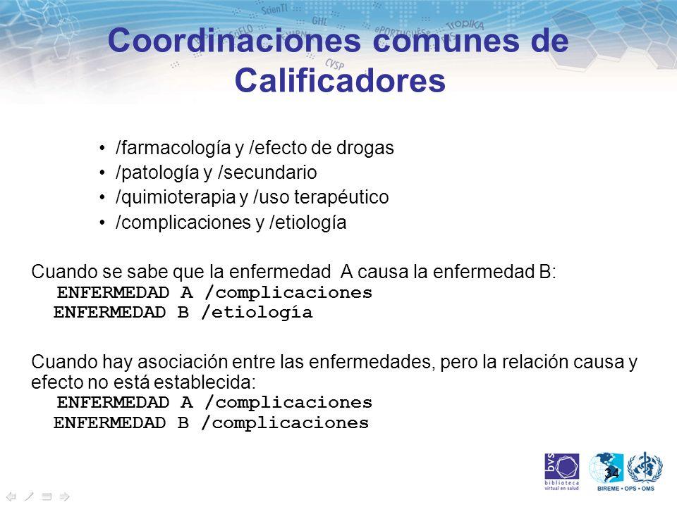 Coordinaciones comunes de Calificadores