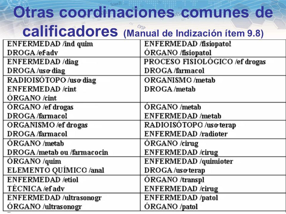 Otras coordinaciones comunes de calificadores (Manual de Indización ítem 9.8)