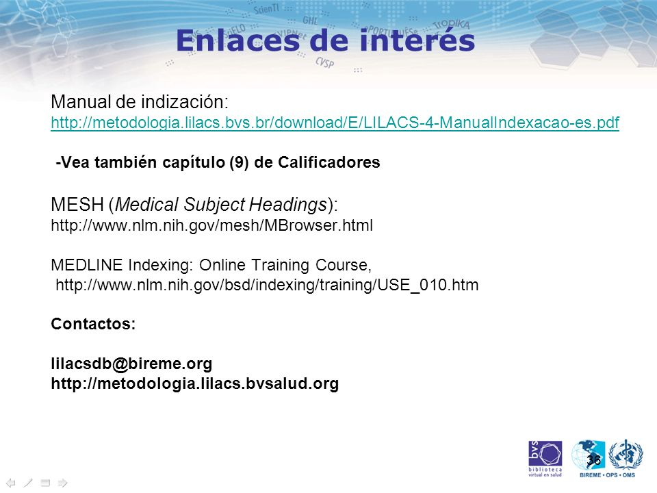Enlaces de interés Manual de indización: