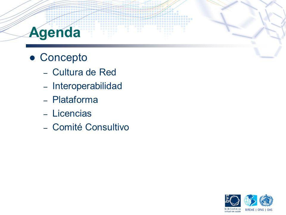 Agenda Concepto Cultura de Red Interoperabilidad Plataforma Licencias