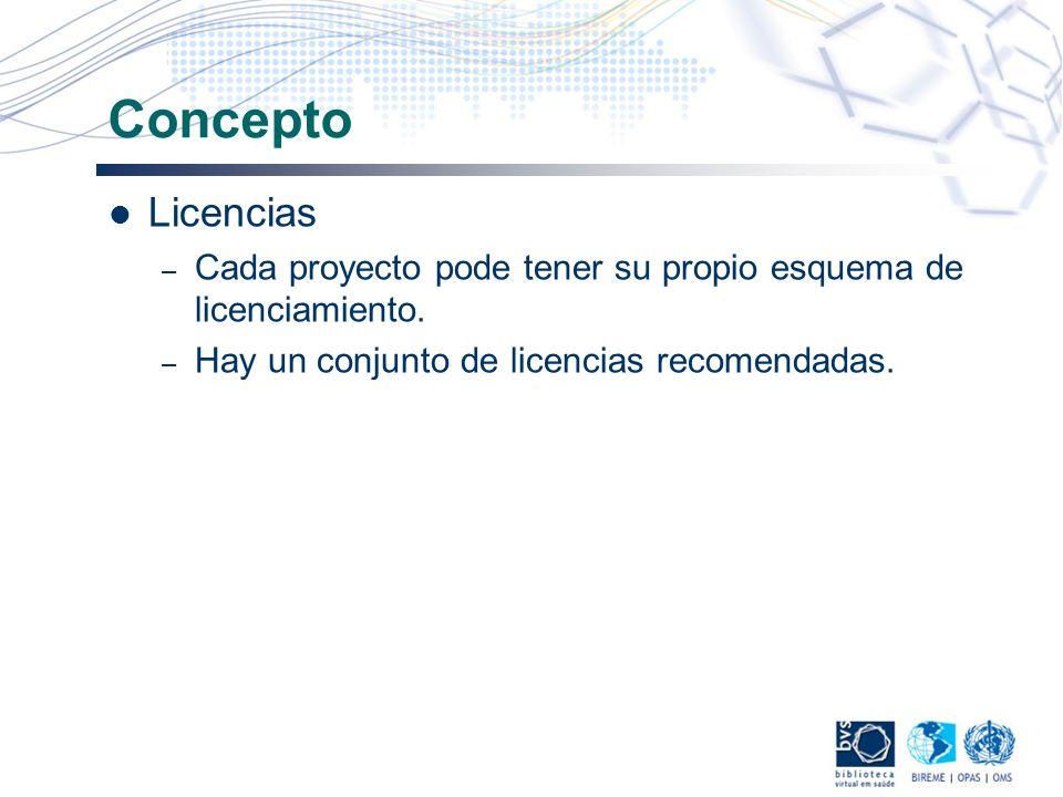 Concepto Licencias. Cada proyecto pode tener su propio esquema de licenciamiento.