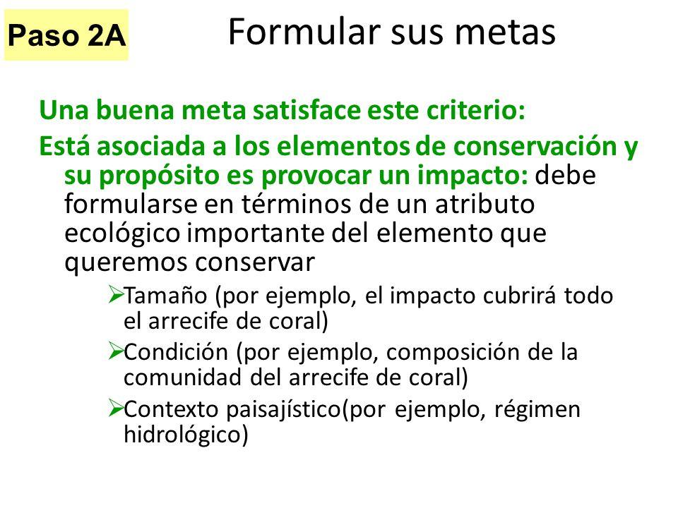 Formular sus metas Paso 2A Una buena meta satisface este criterio: