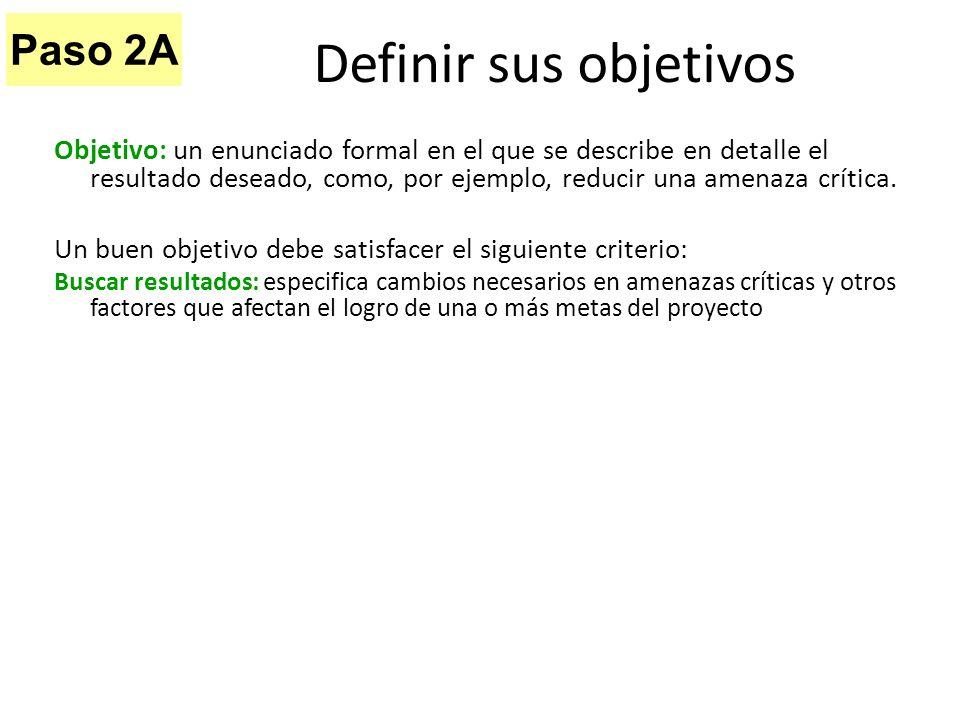 Definir sus objetivos Paso 2A