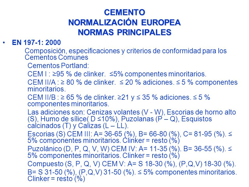 CEMENTO NORMALIZACIÓN EUROPEA NORMAS PRINCIPALES