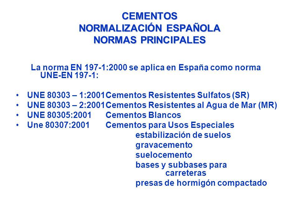 CEMENTOS NORMALIZACIÓN ESPAÑOLA NORMAS PRINCIPALES