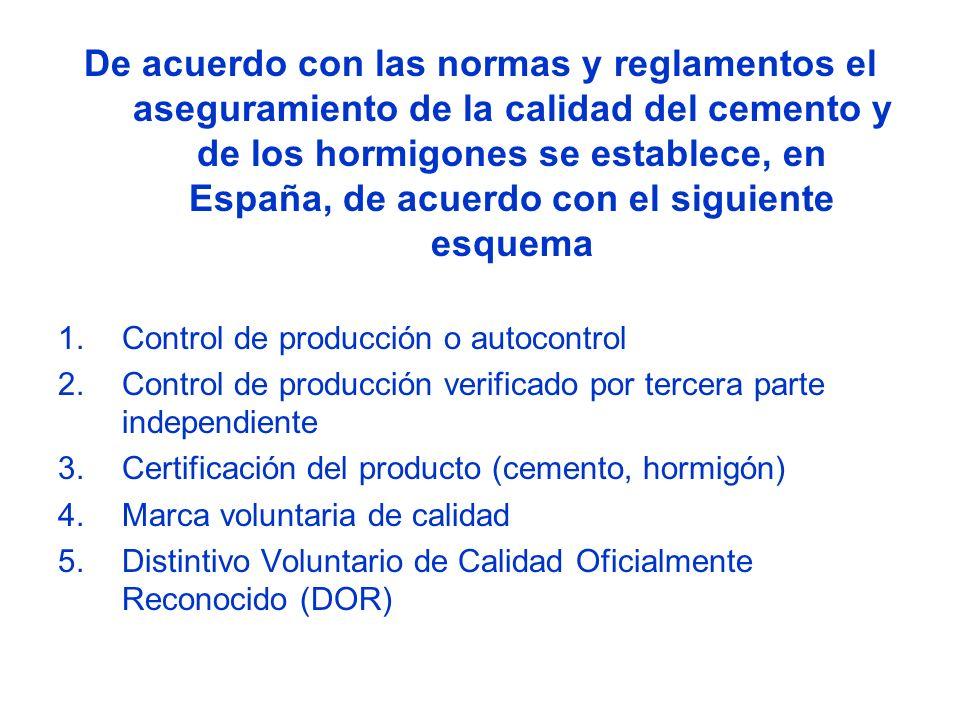 De acuerdo con las normas y reglamentos el aseguramiento de la calidad del cemento y de los hormigones se establece, en España, de acuerdo con el siguiente esquema