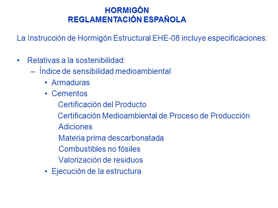 HORMIGÓN REGLAMENTACIÓN ESPAÑOLA