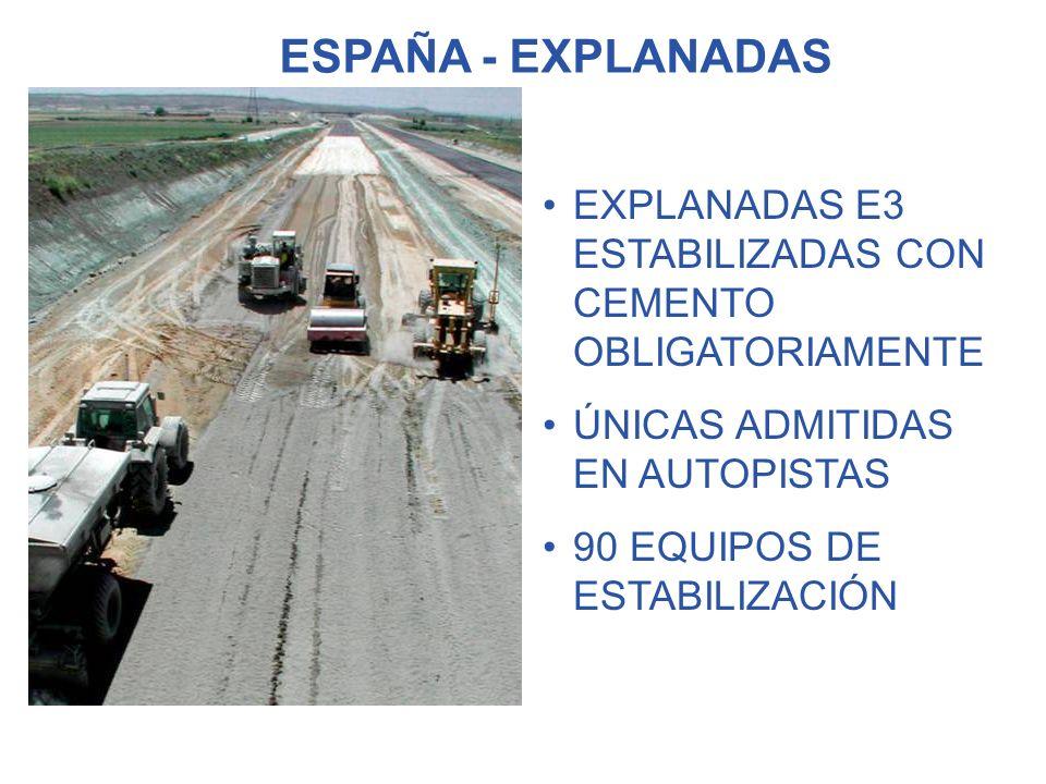 ESPAÑA - EXPLANADAS EXPLANADAS E3 ESTABILIZADAS CON CEMENTO OBLIGATORIAMENTE. ÚNICAS ADMITIDAS EN AUTOPISTAS.