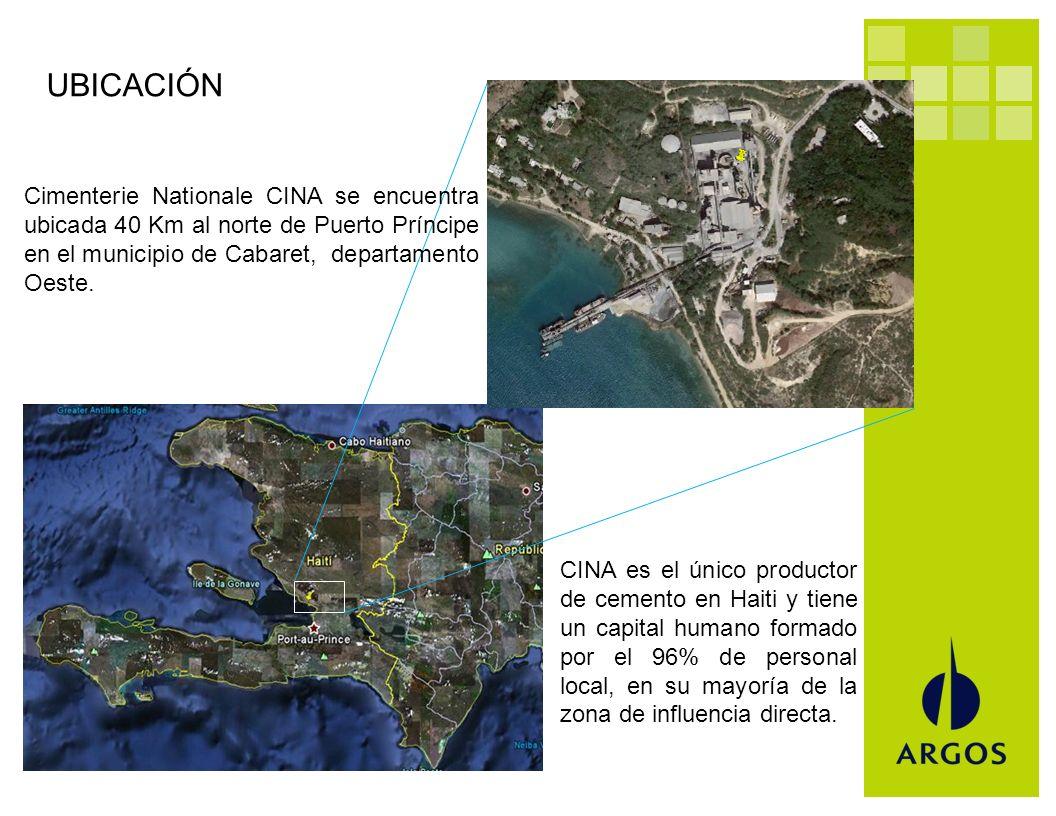 UBICACIÓN Cimenterie Nationale CINA se encuentra ubicada 40 Km al norte de Puerto Príncipe en el municipio de Cabaret, departamento Oeste.