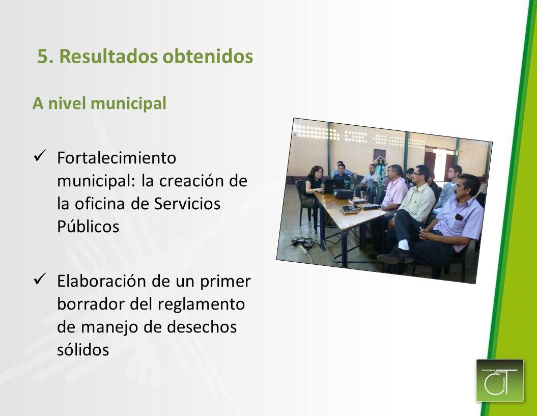 5. Resultados obtenidos A nivel municipal