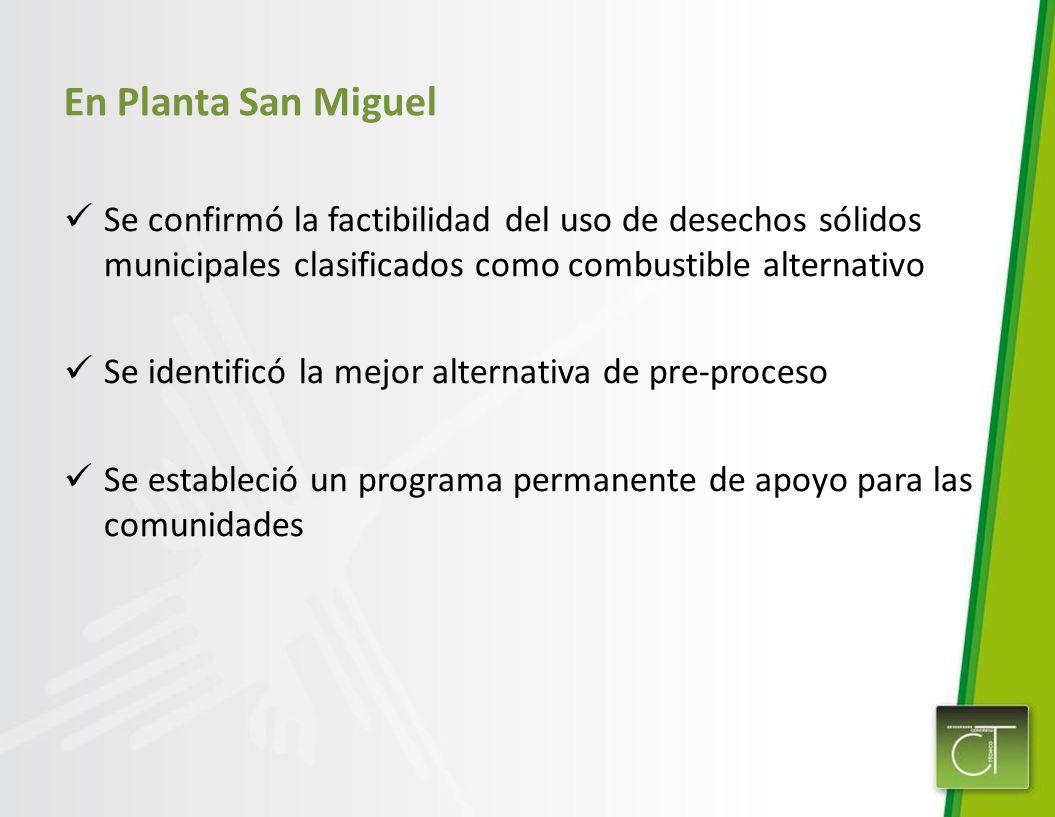 En Planta San Miguel Se confirmó la factibilidad del uso de desechos sólidos municipales clasificados como combustible alternativo.