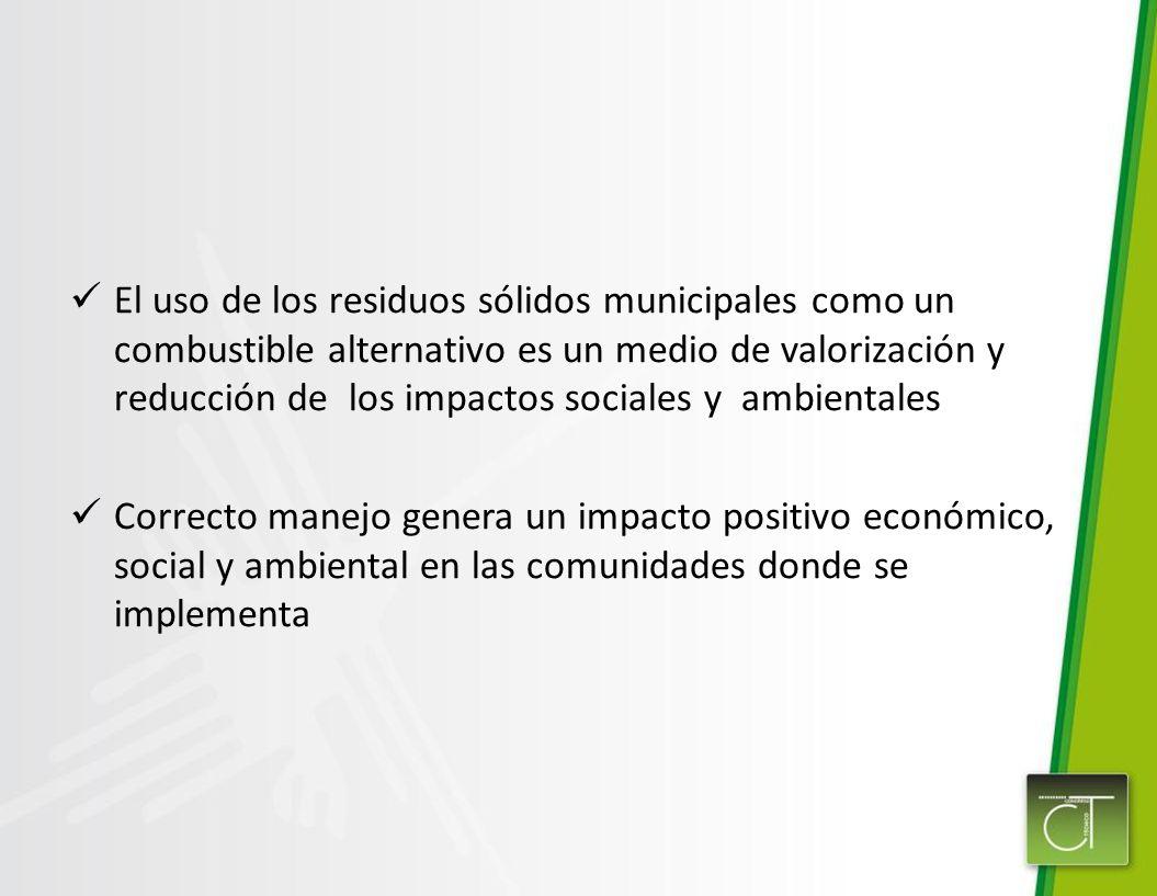 El uso de los residuos sólidos municipales como un combustible alternativo es un medio de valorización y reducción de los impactos sociales y ambientales