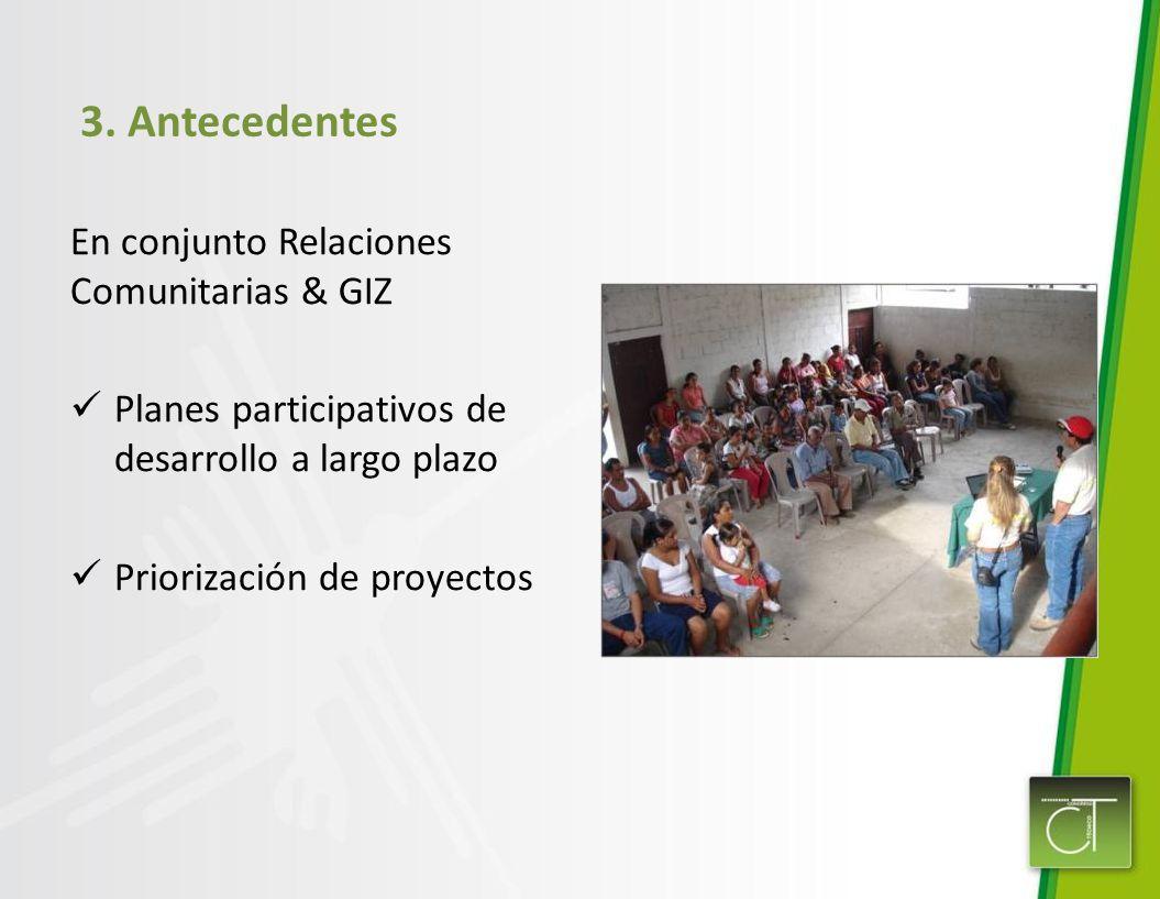 3. Antecedentes En conjunto Relaciones Comunitarias & GIZ
