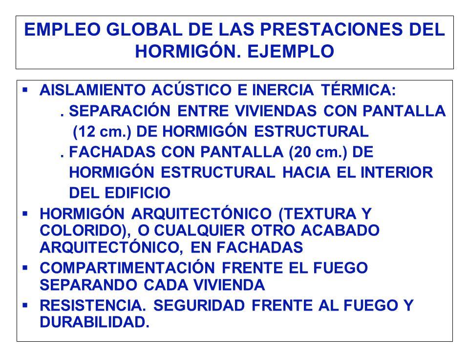 EMPLEO GLOBAL DE LAS PRESTACIONES DEL HORMIGÓN. EJEMPLO