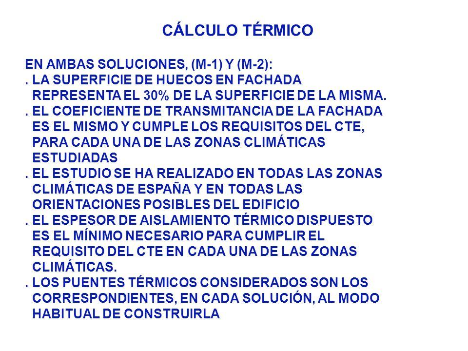 CÁLCULO TÉRMICO EN AMBAS SOLUCIONES, (M-1) Y (M-2):