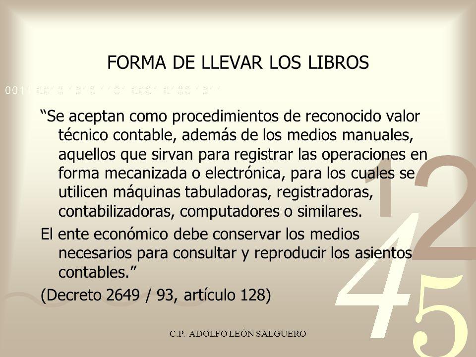 FORMA DE LLEVAR LOS LIBROS