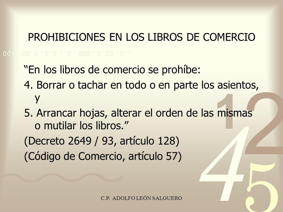 PROHIBICIONES EN LOS LIBROS DE COMERCIO