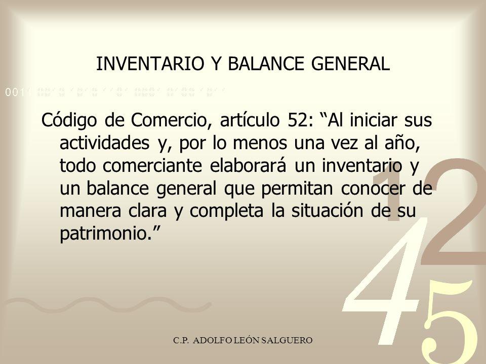 INVENTARIO Y BALANCE GENERAL