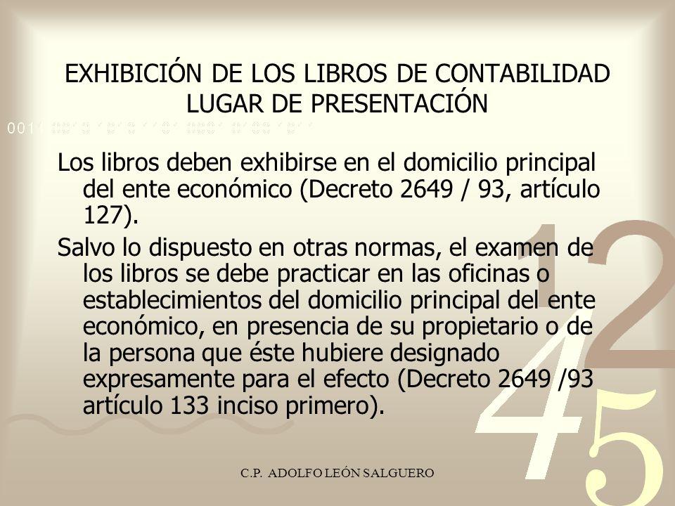 EXHIBICIÓN DE LOS LIBROS DE CONTABILIDAD LUGAR DE PRESENTACIÓN