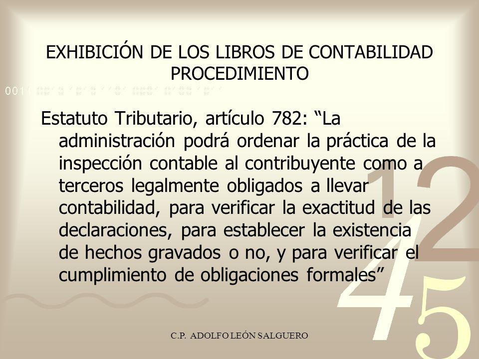 EXHIBICIÓN DE LOS LIBROS DE CONTABILIDAD PROCEDIMIENTO
