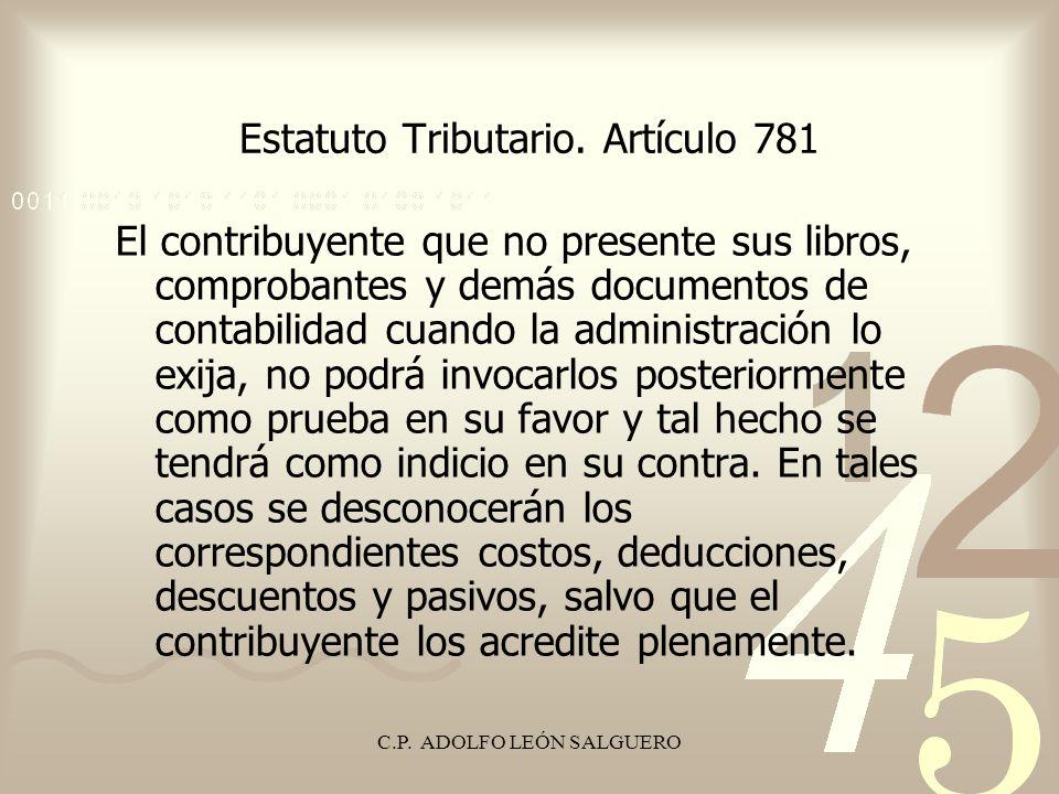 Estatuto Tributario. Artículo 781