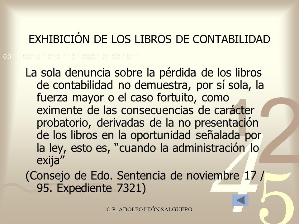 EXHIBICIÓN DE LOS LIBROS DE CONTABILIDAD