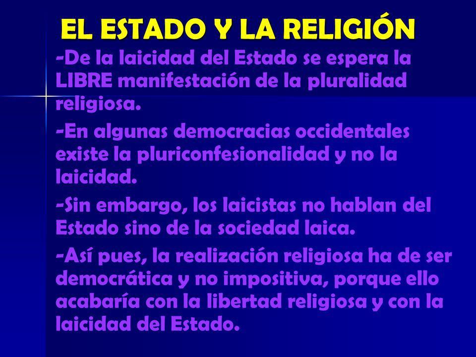 EL ESTADO Y LA RELIGIÓN -De la laicidad del Estado se espera la LIBRE manifestación de la pluralidad religiosa.