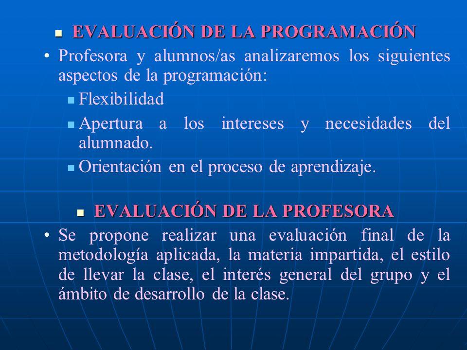 EVALUACIÓN DE LA PROGRAMACIÓN EVALUACIÓN DE LA PROFESORA
