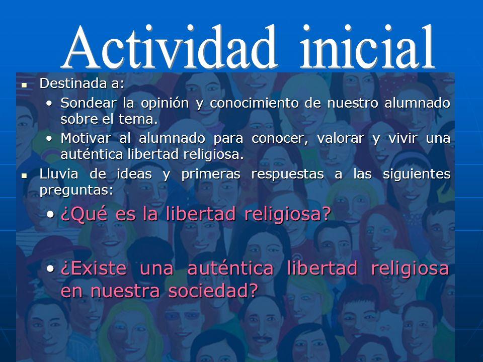 Actividad inicial ¿Qué es la libertad religiosa