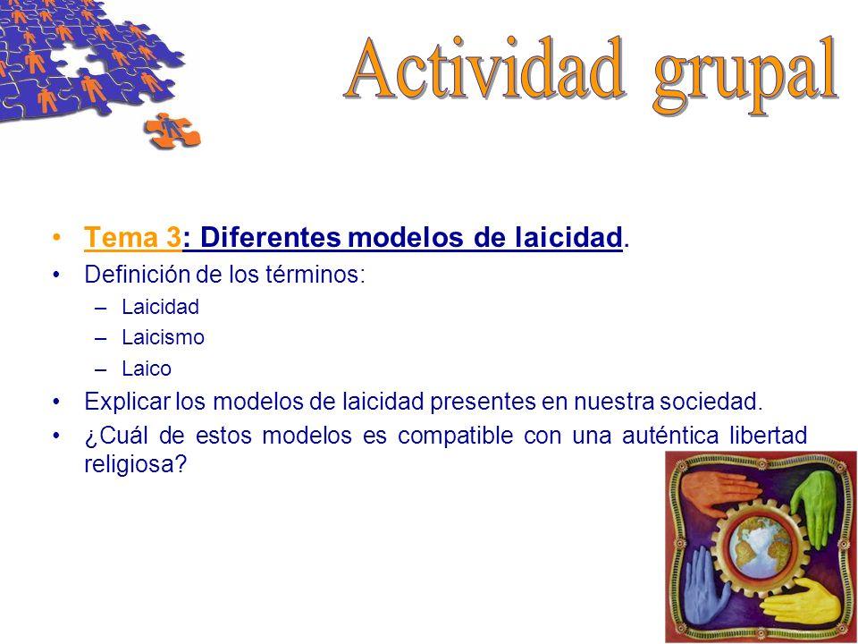 Actividad grupal Tema 3: Diferentes modelos de laicidad.