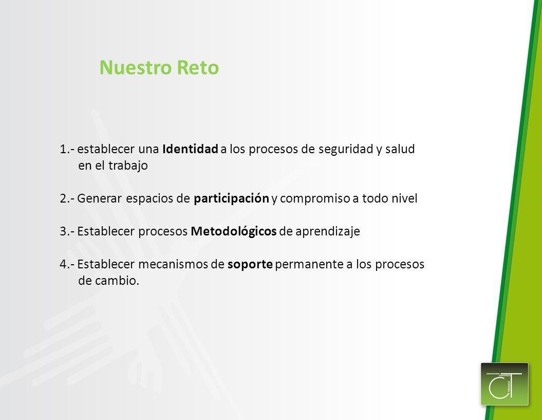 Nuestro Reto1.- establecer una Identidad a los procesos de seguridad y salud. en el trabajo.