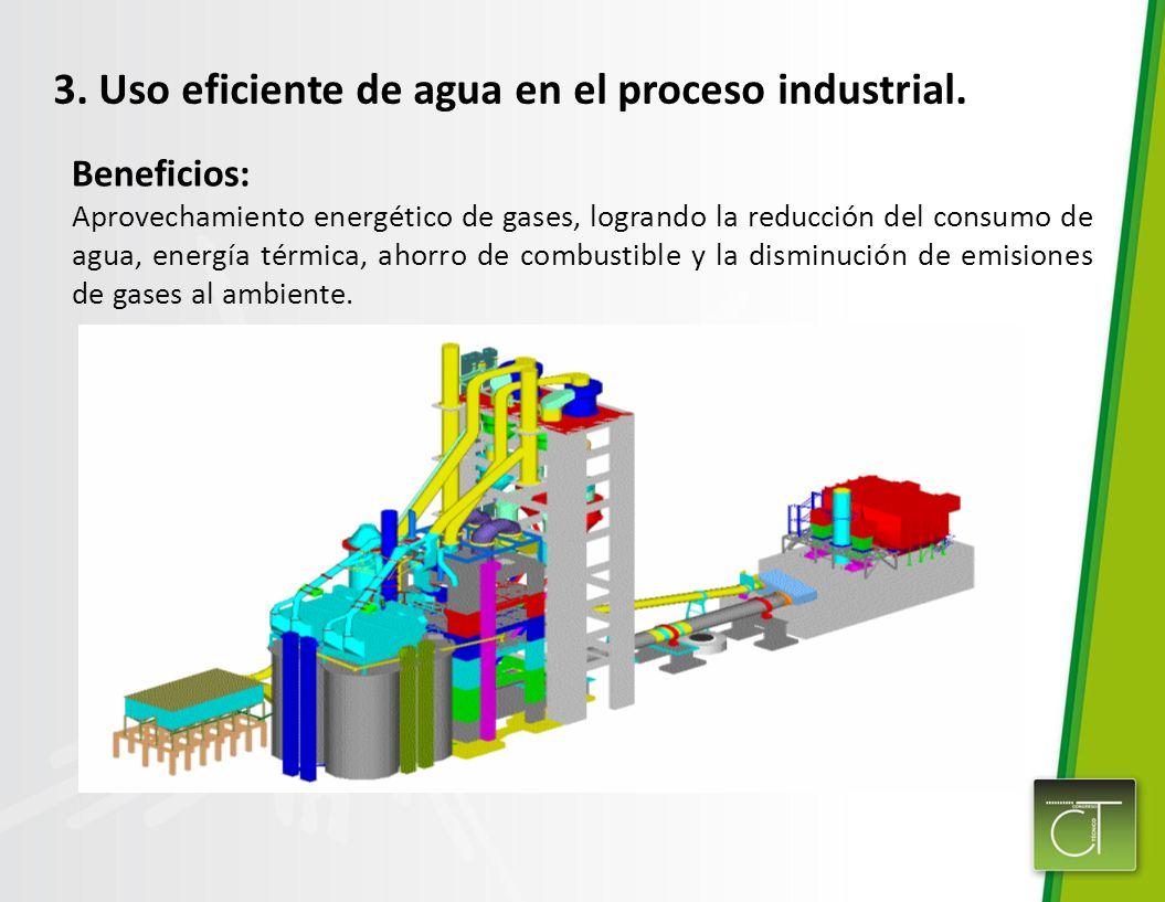 3. Uso eficiente de agua en el proceso industrial.