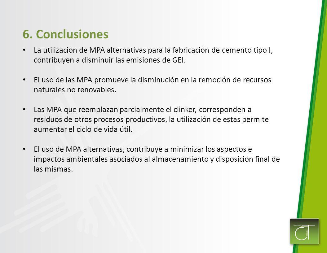 6. ConclusionesLa utilización de MPA alternativas para la fabricación de cemento tipo I, contribuyen a disminuir las emisiones de GEI.