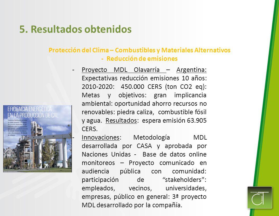 5. Resultados obtenidos Protección del Clima – Combustibles y Materiales Alternativos - Reducción de emisiones.