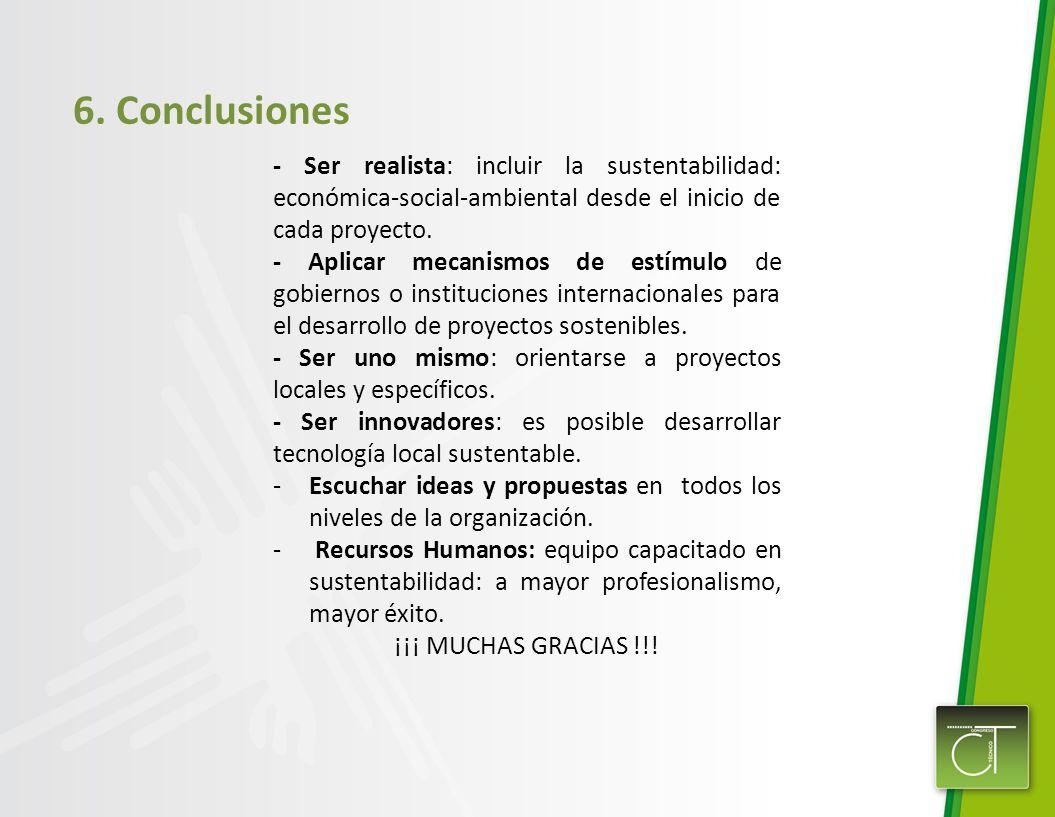 - Ser realista: incluir la sustentabilidad: económica-social-ambiental desde el inicio de cada proyecto.