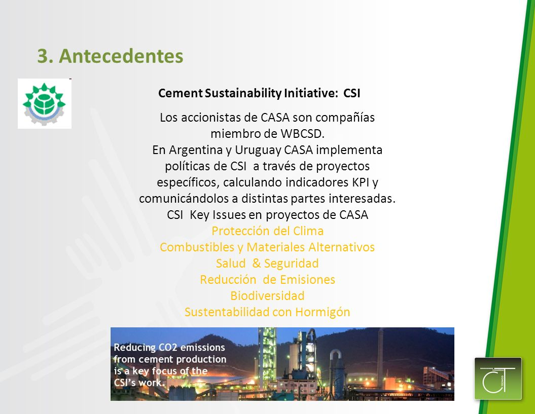 3. Antecedentes Cement Sustainability Initiative: CSI