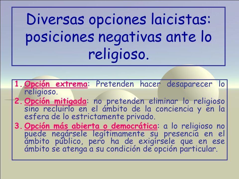 Diversas opciones laicistas: posiciones negativas ante lo religioso.