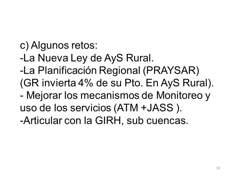c) Algunos retos: -La Nueva Ley de AyS Rural