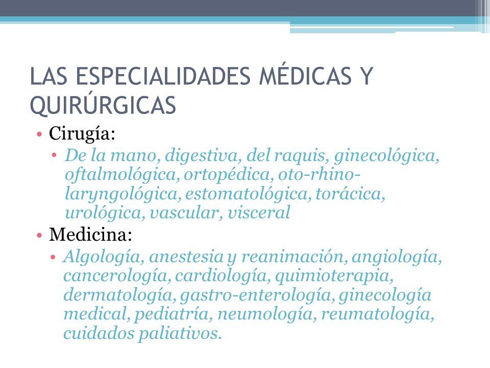 LAS ESPECIALIDADES médicas y quirúrgicas