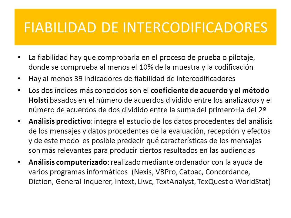 FIABILIDAD DE INTERCODIFICADORES