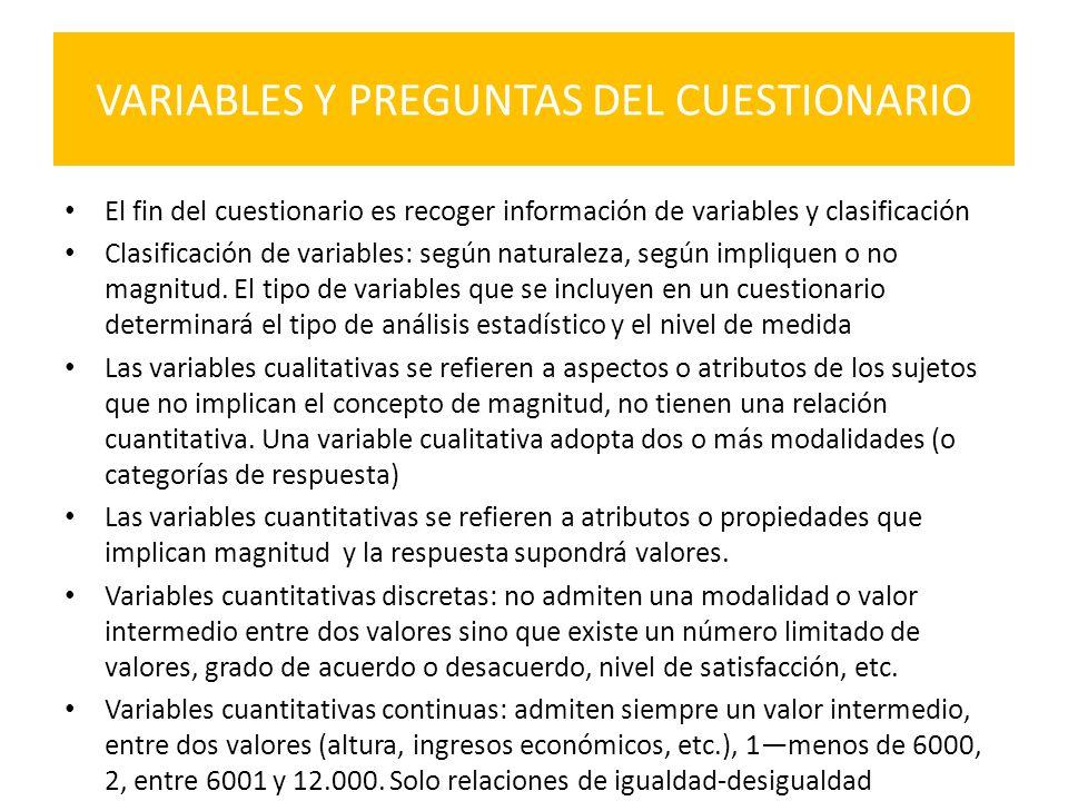 VARIABLES Y PREGUNTAS DEL CUESTIONARIO