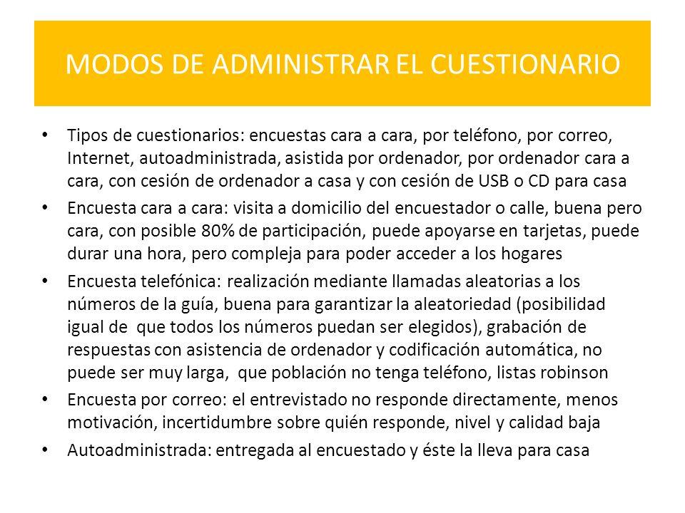 MODOS DE ADMINISTRAR EL CUESTIONARIO