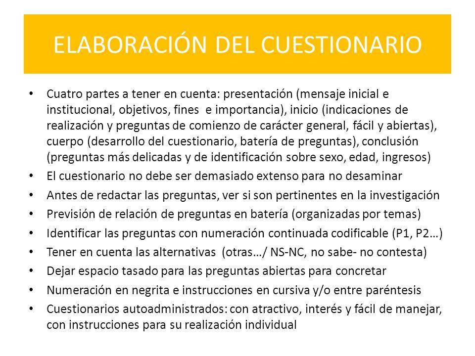 ELABORACIÓN DEL CUESTIONARIO
