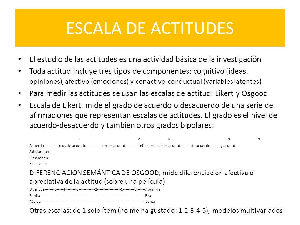 ESCALA DE ACTITUDES El estudio de las actitudes es una actividad básica de la investigación.