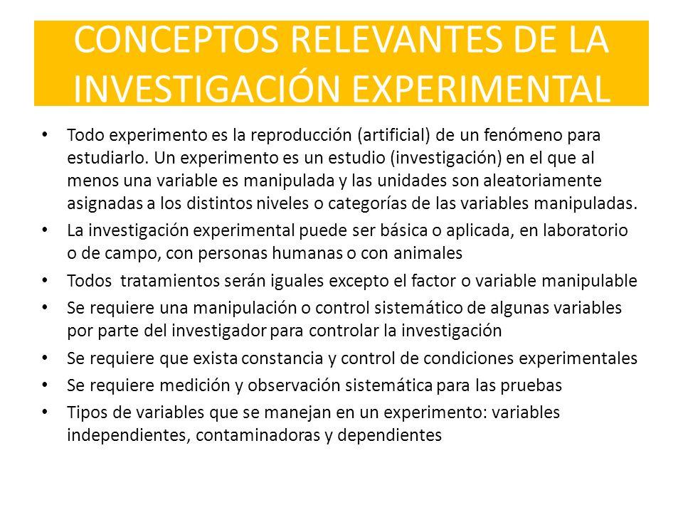 CONCEPTOS RELEVANTES DE LA INVESTIGACIÓN EXPERIMENTAL