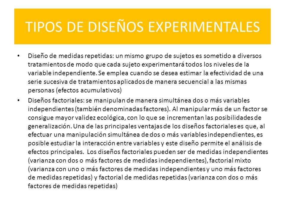 TIPOS DE DISEÑOS EXPERIMENTALES